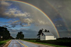 Tender mercies abound - Iowa Hwy 21, N of Delta (Lights in my hometown) Tags: delta keokukcounty iowa farm country agriculture barn quilt highway rainbow clouds sky road roadside ©sharidayton