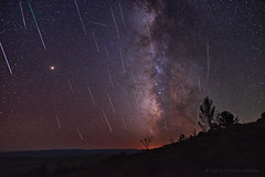 Meteors, Mars, and the Milky Way (Fort Photo) Tags: perseids perseid meteor meteors shootingstar shootingstars star stars milkyway galaxy universe astronomy meteorshower wy wyoming landscape nightscape composite nikon d500 michaelmenefee menefee cosmic silhouette sky camping night nature astro astrophotography