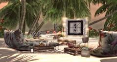 Summer Cinema (desiredarkrose) Tags: summercinema cinema beach summer tropical ariskea daddesign fancydecor jian flamingo sunny secondlifephotography secondlifedecor secondlifebeach summerfest18 decoration interior
