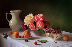 Still life with berries and roses (Tatyana Skorokhod) Tags: stilllife roses fruit bouquet berries redcurrant decor indoors
