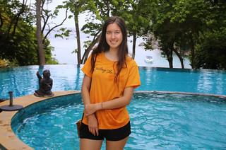 Samantha relaxing at the pool of Barnray Resort