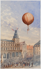 Balloon with two passengers hovering over a French town square by Camille Gravis. Original from Library of Congress. Digitally enhanced by rawpixel. (Free Public Domain Illustrations by rawpixel) Tags: air airballoon aircraft antique apparatus art balloon camille camillegravis decor decoration discovery drawing floating flying france french gas graphite gravis illustrated illustration old original painting paris passengers people physics propulsion science scientific sketch spectators square town vintage watercolor