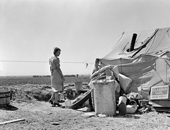 Young family just arrived from Arkansas camped along the road. Imperial Valley, California, Spring 1937. (polkbritton) Tags: 1930s dorothealange greatdepression fsaowi libraryofcongresscollections vintagefashion ruralamerica