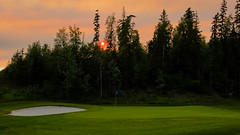 Sunset on Six (PhotoGizmo) Tags: aberdeenglen princegeorge green six forest sky smoke trees sand trap grass golf course