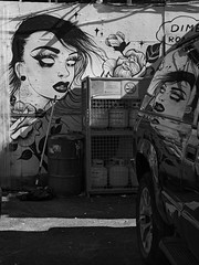 (geowelch) Tags: toronto urbanfragments blackandwhite wallart graffiti reflection littleportugal littleitaly dundasstwest olympusomdem1 panasoniclumixgvario1445mm