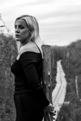 (Reetta Virtanen) Tags: blackandwhite bw portrait portraitphotography people girl blond nature naturallight canon canon7d 24105mm finland finnish helsinki face monochrome sky outdoor explore