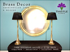 Thistle Brass Decor - Candlestick Lamp and Mirror (Liz Gealach) Tags: thistlehomes thistle homes home decor house decorate interior secondlife second life sl fameshedgo fameshed lizgealach prefab mesh brass lamp mirror originalmesh original