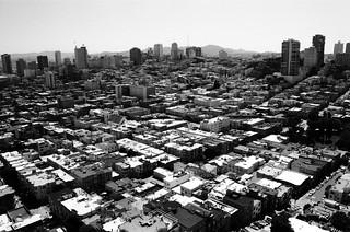 Vue Sud-Ouest sur la Ville / Coit Tower - San Francisco, Californie
