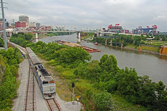 NRTX 121, MCS 155, CP Nashville, Nashville, TN, 07-23-18 (mikeball1374) Tags: nashville tennessee passenger train f40 musiccitystar transportation trainphotography trains railfanning railroad photography locomotive emd barge river commuter