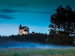 Bobolice Castle - evening fog . (Andrzej Kocot) Tags: andrzejkocot night nightscapes nightsky jura bobolice fog eveningcolors eveningmood eveningsky evening eveninglight forest sky tree wood grass olympus surreallandscape