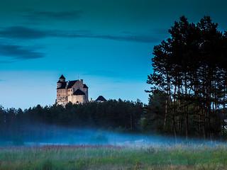Bobolice Castle - evening fog .