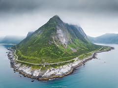Ersfjord Cliffs (laurilehtophotography) Tags: norway ersfjord mountain shore cliffs norwegian sea island isle senja visit holiday vacation summer 2018 roadtrip dji mavic pro aerial landscape nature awesome europe water road hill clouds