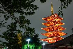 浅草寺 - Sensō-ji (IHNIWIMD) Tags: taitōku tōkyōto japan jp 浅草寺 sensōji buddhist temple night long exposure trees sky lights green building nikon d7200 sigma 1750mm f28 clouds