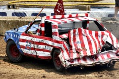 As American as the demolition derby!! (Laurence's Pictures) Tags: boone county fair belvidere illinois state show animal politican tractor 2018 demolision demolition derby cars race auto automobile america crash junk racing nascar em up