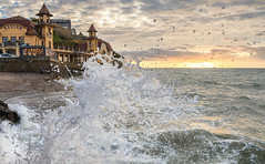 Granville splash (Asian Hideaways Photography) Tags: tide sea seascape casino granville france normandy sky sunset