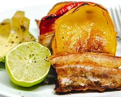 Wednesday dinner. Pork belly and vegetables. (garydlum) Tags: soysauce porkbelly lime sweetpotato capsicum pork avocado sesameoil bruce australiancapitalterritory australia au