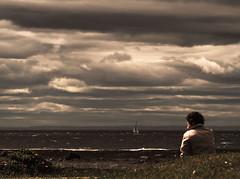 cloudy 2 (photosgabrielle) Tags: photosgabrielle people clouds nuages sepia sea gaspésie vent cloudscape rimouski