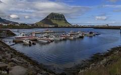 Grundarfjörður and Kirkjufell (einisson) Tags: grundarfjörður kirkjufell snæfellsnes iceland harbour boats mountain sea clouds outdoor landscape einisson canon70d