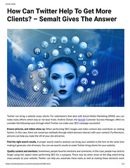 How Can Twitter Help To Get More Clients? - Semalt Gives The Answer (unkautomobile) Tags: semalt seo marketing tips