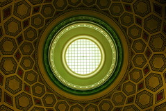 Oberlicht (österreich_ungern) Tags: oberlicht berlin nk 44 neukölln architecture green yellow red colour roof eye ornament etage ballustrade gitter raster hexagon polygon rotunde above up view germany structure pattern raute rhombus caro equilateral quadrilateral euklid