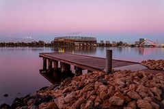 To the River (Jared Beaney) Tags: canon6d canon australia australian travel photography photographer westernaustralia perth eastperth swanriver river sunset pastel pink blue purple boardwalk jetty stadium optusstadium