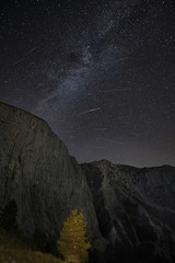 Perseid meteor shower 2018 (Mavroudakis Fotis) Tags: meteor milky perseids shower way abandoned aged architecture astrology astronomy building celestial composite constellation cosmos deserted destroyed destruction rock climbing outdoors nature night sky milkiway stars mountain forest tree vast meteorite