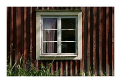 LW III (*TimeBeacon*) Tags: window curtain wall wooden texture abandoned rural building old tb red falu