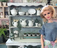Close-up of upper shelves. (JunqueDollBoutique) Tags: playscale dining room hutch redo diorama dio one sixth scale grace kelly barbie junque doll boutique ooak shabby cottage chic farmhouse french country home decor ironstone vintage