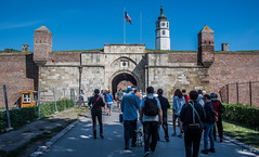 2018 - Serbia - Belgrade Fortress - Inner Stambol Gate & Clock Tower (Ted's photos - For Me & You) Tags: 2018 belgrade cropped nikon nikond750 nikonfx serbia tedmcgrath tedsphotos vignetting belgradefortress backpack people peopleandpaths pathsandpeople fortress church churchdome kalemegdanclocktower sahattower sahattowerbelgradefortress innerstambolgate innerstambolgatebelgradefortress belgradefortressinnerstambolgate