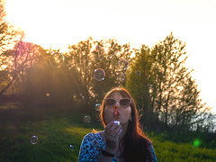 (Kalev Lait photography) Tags: bubbles portrait people sunset nature play portreature summer woman redhead sunglasses olympus creative blow