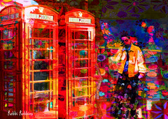 Call Me (brillianthues) Tags: telephone booths street shops colorful collage photography photmanuplation photoshop