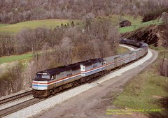 .(SEE & HEAR)---AMT 338-399, P030, Mance, PA. 4-28-1991 (jackdk) Tags: train railroad railway passengertrain passenger sandpatch sandpatchgrade mance mancepa capitollimited capitol p030 csxpittsburghsub csxkeystonesub csxp030 pittsburghsub keystonesub emdf40 f40 f40ph amtrak amtrakf40 amtrakp030 trainingcamp seehear bo baltimoreandohio