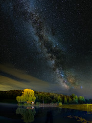 MIlky way in the valley (BalintL) Tags: pano panorama stack stacked milkyway milky way star stars dark night sky midnight summer green grass tree trees lake water woods forest fujifilm xt10 samyang 12mm f2 wide open wideopen