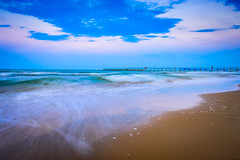 Blue hour in Rimini, Italy (PeterFineart) Tags: rimini beach sunset blue hour italy europe gold sand explore travel travelphoto travellers vacation holidays landscape landmark clouds sky skyporn sea waves