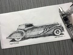 Art Deco beauty (schunky_monkey) Tags: penandink ink pen fountainpen drawing draw sketching sketch napkinsketch napkin illustration art car modern sleek classic automobile highdesign artdeco