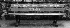 Masculinisme urbain (Tonton Gilles) Tags: dont show your tears street tag ne montre pas tes larmes dans la rue banc public noir et blanc graphisme
