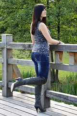 Chrissi 22 (The Booted Cat) Tags: sexy teen girl model tight blue jeans denim boots overkneeboots heels highheels brunette hair