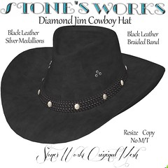 Diamond Jim Blk Leather Silver Stone's Works (darkstoneaeon2) Tags: stonesworks secondlife avatar fashion hat cowboy cowgirl leather black