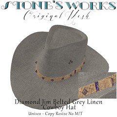 Diamond Jim Belted Grey Linen Stone's Works (darkstoneaeon2) Tags: stonesworks secondlife avatar fashion hat cowboy cowgirl belted grey linen