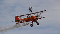 The Flying Circus Wingwalking Team, Shuttleworth Collection Family Air Show, Bedfordshire (IFM Photographic) Tags: img4006a breitlingstearman breitling stearman theflyingcircuswingwalker wingwalker wingwalking nikita aerosuperbatics canon 600d sigma70200mmf28exdgoshsm sigma70200mm sigma 70200mm f28 ex dg os hsm apo tele converter 2x af teleconverter oldwarden bedfordshire beds shuttleworthcollection shuttleworthhouse familyairshow airshow aircraft aeroplane plane airplane boeing