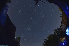 The sky above my backyard. (PhotoTJH) Tags: phototjh phototjhnl 8mm fisheye stars sterren heldere hemel clear sky dark donker nightphotography nachtfotografie achtertuin backyard startrails startrailsde