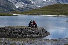 retour au lac des Autannes (bulbocode909) Tags: valais suisse moiry grimentz valdanniviers lacdesautannes randonneurs bancs lacs eau montagnes nature bleu neige rouge vert