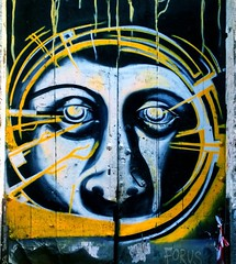 Vibes (Michschnei) Tags: dark art street graffiti grunge indie obscure paint face eyes vibes yellow cold feelings aesthetic city wall urban black white conceptual thoughts thought weird pic picture