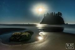 Monlight on Second Beach (KR Backwoods Photography) Tags: second beach washington olympic national park sunset moon stars astro astrophotography light beams adventure pnw pacific ocean bioluminescense