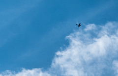 A familiar sound made me look up (Peter Leigh50) Tags: plane sky spitfire cloud blue silhouette