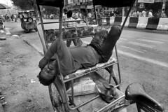 India - New Delhi (luca marella) Tags: india newdelhi street streetstyle lucamarella sleeping nap rickshaw ricksaw blackwhite bw bn biancoenero bnw asia