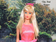 1968 Vintage Mod Standard Body Platinum Sun-kissed Barbie Doll (The doll keeper) Tags: 1968 vintage mod standard body barbie doll platinum sunkissed blonde glowinout dress pink bow