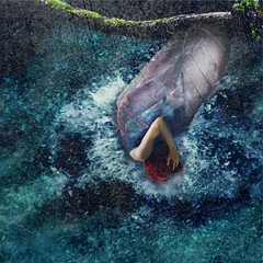 Rebirth (Gracious_Jan) Tags: conceptualphotography conceptual texture squareformat blue discoverself renew cleanse water dreamlike womanartist fineart fineartphotography photoshop selfportrait photography nature cocoon butterfly metamorphosis selfdiscovery rebirth