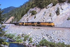 (SEE & HEAR)---UP 7305-8005-9327, Twain, CA. 7-28-1999 (jackdk) Tags: train railroad railway locomotive ge gelocomotive up unionpacific wp westernpacific featherriverroute coal coaltrain coaldrag seeandhear seehear featherriver
