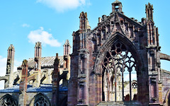 Cathedrals 2 (orientalizing) Tags: 15thcentury 1146ad abandoned archaia architecture cistercians desktop featured gothic melroseabbey ruins scotland
